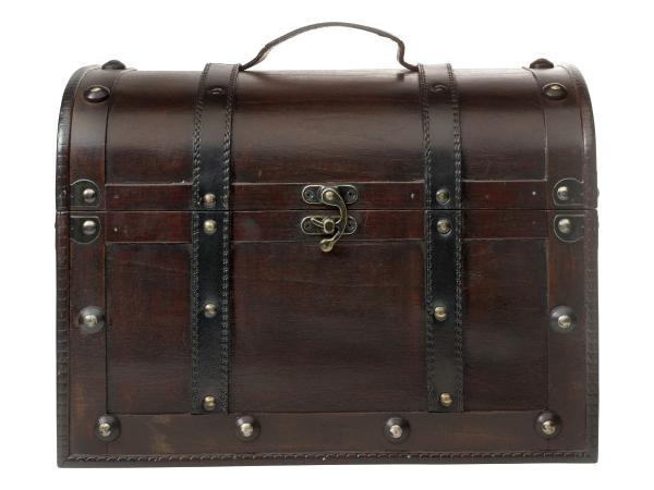 cadeaux ce primes malle en bois poign e en cuir. Black Bedroom Furniture Sets. Home Design Ideas