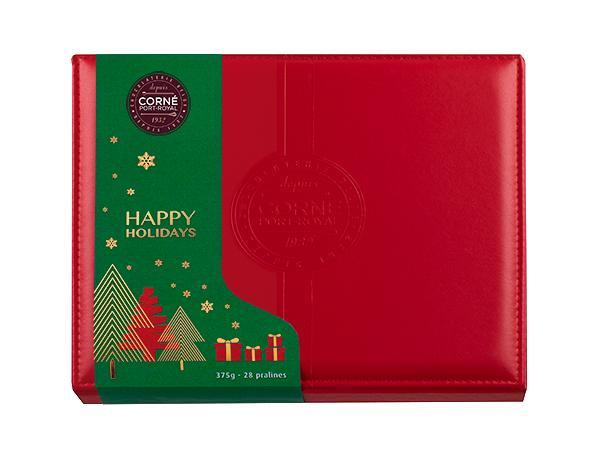 Boîte Cuir Rouge  Noël  Garnie 28 Pralines Assortis Sans Alcool