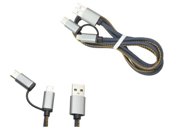 Câble de rechargement USB avec 3 embouts en 1 en Jeans