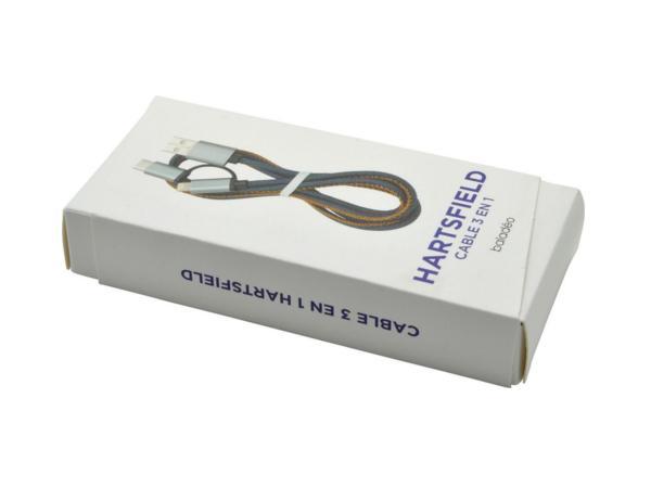 Câble de rechargement USB avec 3 embouts en 1 en Jeans - visuel 2
