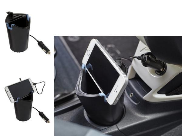 Hub de Voiture Allume Cigare avec 3 Ports USB et Range Monnaie