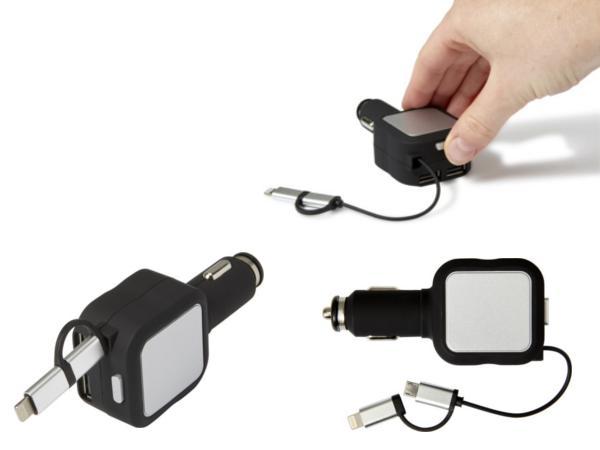 Prise Allume Cigare 2 Sorties USB et Câbles de Chargeur