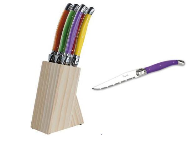 Set de 6 Couteaux à Steack Laguiole support Bois
