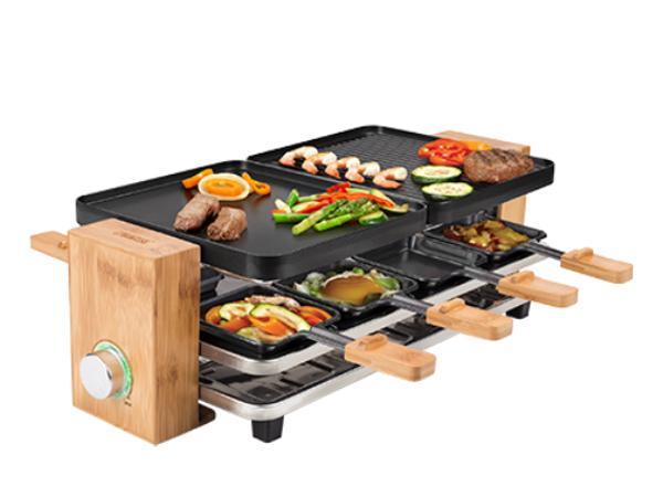 Raclette pour 8 Personnes socle en Bambou Puissance 1200 Watts