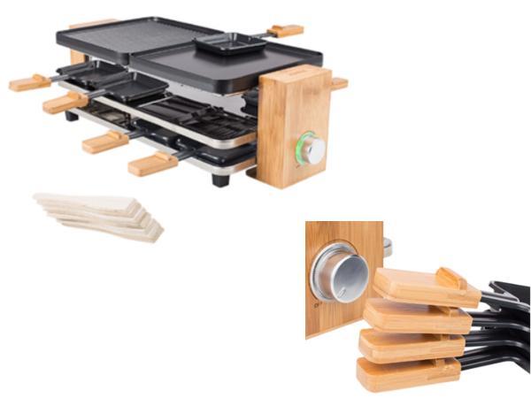 Raclette pour 8 Personnes socle en Bambou Puissance 1200 Watts - visuel 2