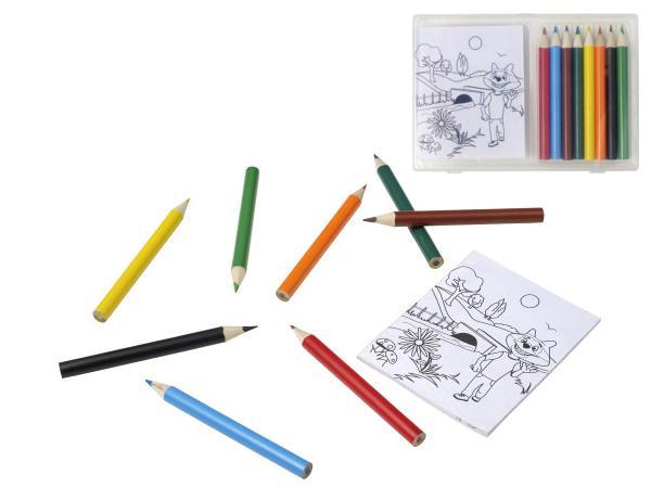 Set à Dessin de 8 Crayons de Couleurs et 20 Feuilles de Coloriag