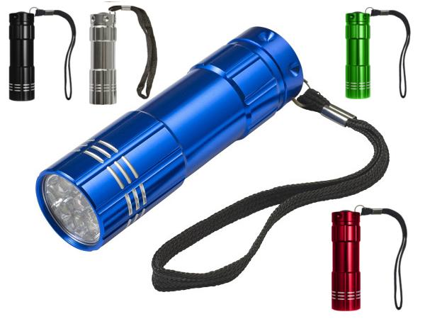 Torche en Aluminium Munie de 9 LEDS avec Dragonne
