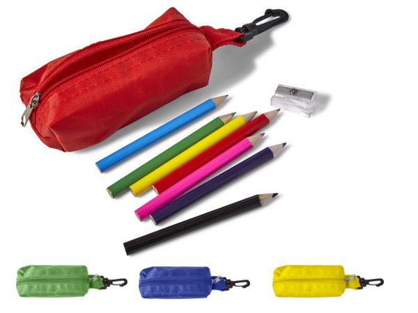 Trousse avec Mousqueton comprenant 8 Crayons et un Taille crayon