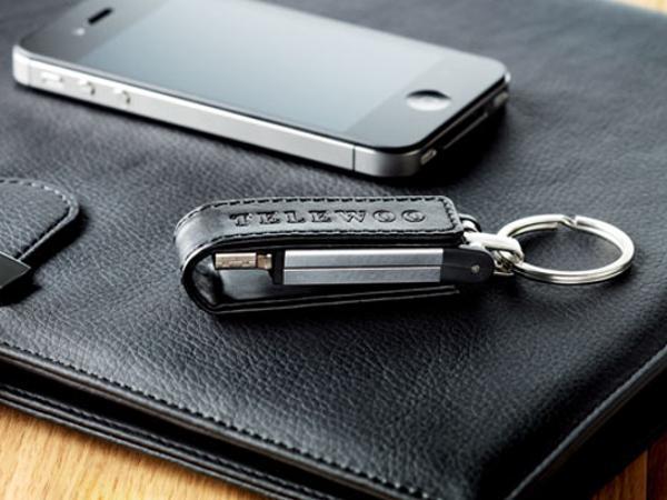 Clé USB Articulée en Métal avec Porte-Clés Revêtement Cuir