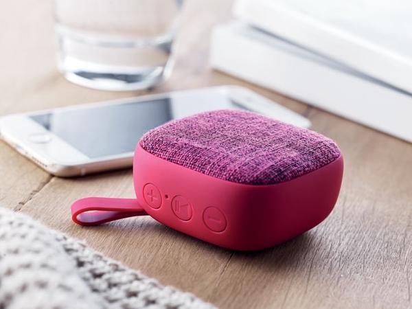 Haut-Parleur Carré Bluetooth revêtement Tissu et Caoutchouc