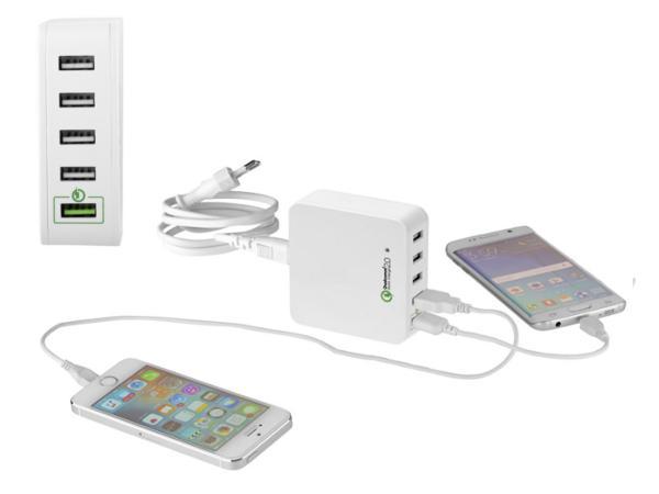 Chargeur Mural avec 4 Ports USB et 1 Port USB Qualcomm Quick Cha