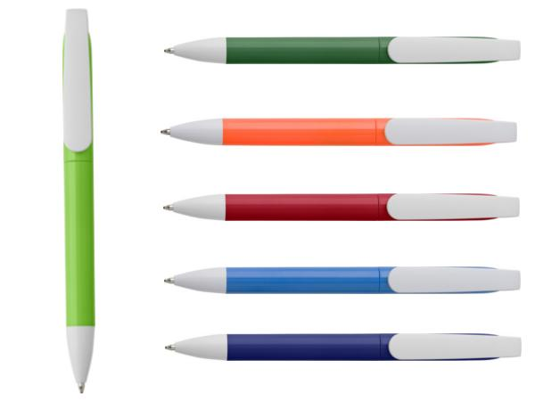 Stylo Bille Corps Coloré et Clip Blanc à Mine Bleue