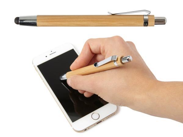 Stylo Bille en Bambou à Mine Bleue et Embout pour Ecran Tactile