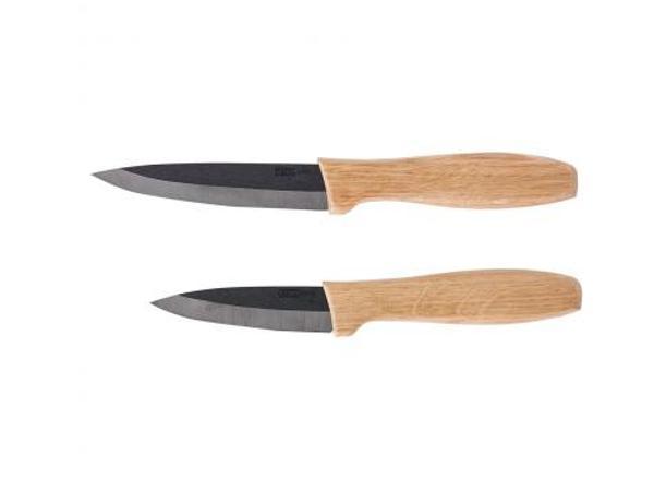 Set de 2 Couteaux Céramique Noire et Bois