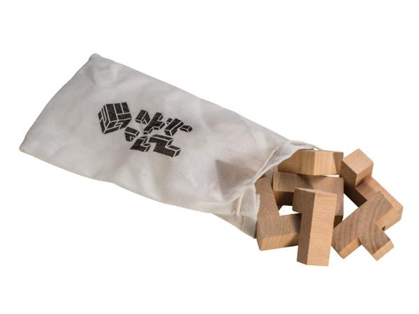 Puzzle en Bois en Forme de Dé dans un Sac de Coton - visuel 2