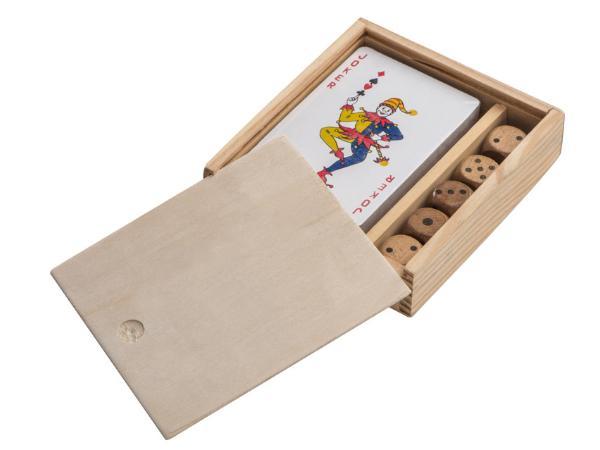 Jeux de Cartes et Dés dans une Boîte en Bois