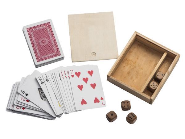 Jeux de Cartes et Dés dans une Boîte en Bois - visuel 2