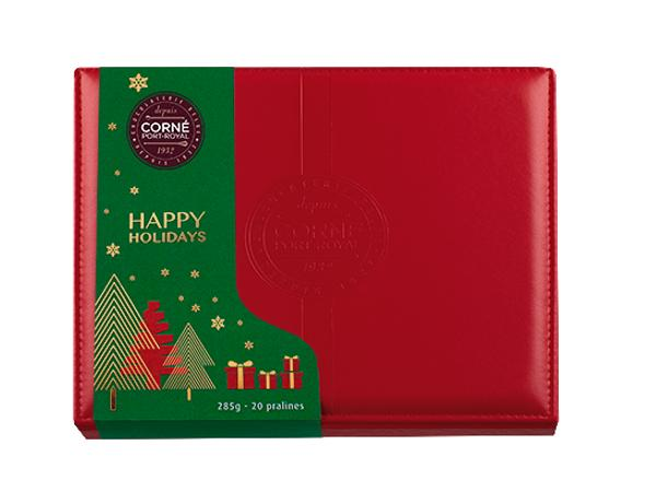 Boîte cuir rouge  Noël garnie 20 Pralines Sans Alcool 285 g