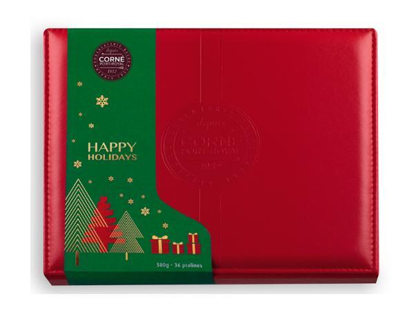 Boîte Cuir Rouge Garnie 36 chocolats Assortis  Sans Alcool 500G