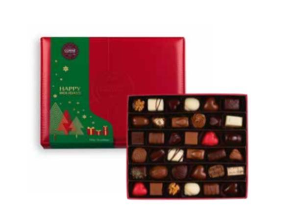 Boîte Cuir Rouge Garnie 36 chocolats Assortis  Sans Alcool 500G - visuel 2