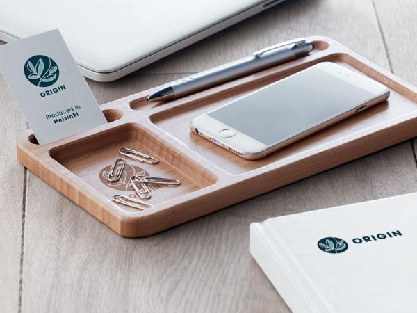 Boîte de Rangement en Bambou avec Chargeur sans Fil