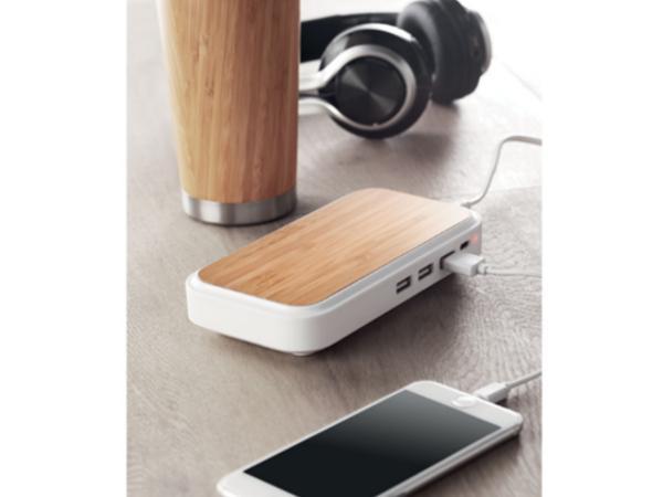 Chargeur sans Fil en Bambou avec Hub USB 3 Ports