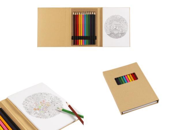 Carnet Cartonné avec Dessins à Colorier, Feuilles et Crayons