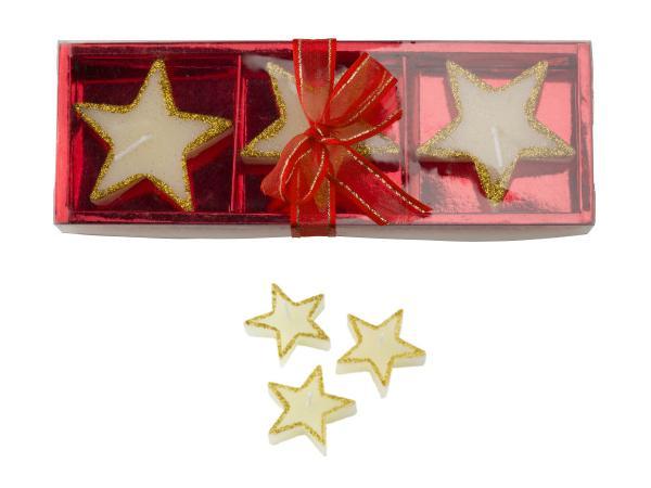 Set de 3 Bougies Etoiles dans une Boîte Cadeau