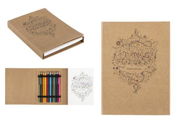 Carnet Cartonné avec 50 Dessins à Colorier et Crayons de Couleur