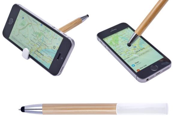 Stylo Bille en Bambou avec Embout pour Ecran et Support Téléphon - visuel 2