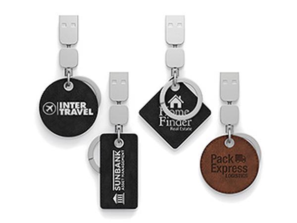 Clé USB avec Attache Porte-Clés Métal et Cuir Véritable
