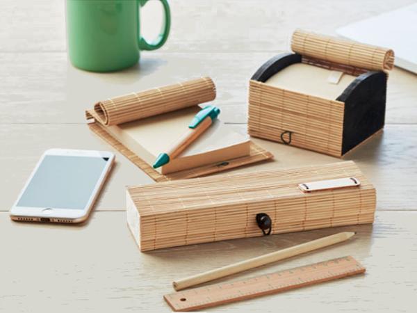 Set Papeterie de 7 Pièces en Bambou, Bois et Carton