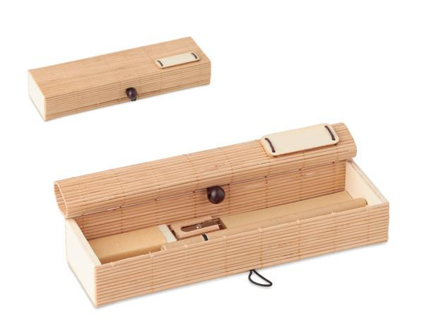 Set Papeterie de 7 Pièces en Bambou, Bois et Carton - visuel 2