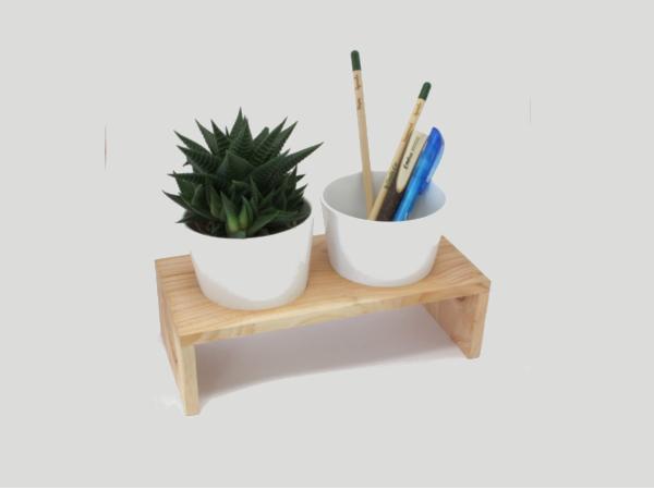 Plateau Bois avec 2 Pots en Céramiques et Plantes Dépolluantes