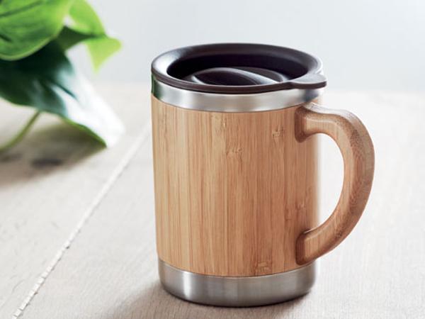 Gobelet en Acier à Double Paroi, en Bambou de 300 ml