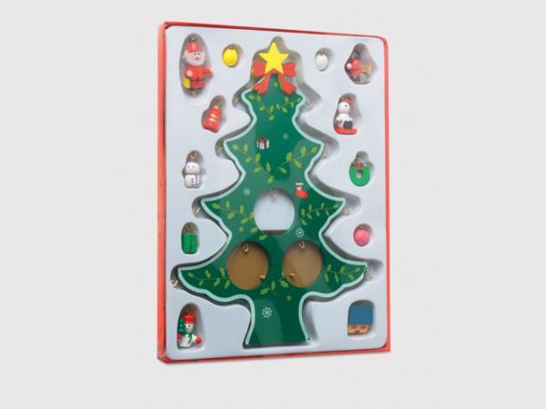 Sapin de Noël en Bois avec Décorations - visuel 2