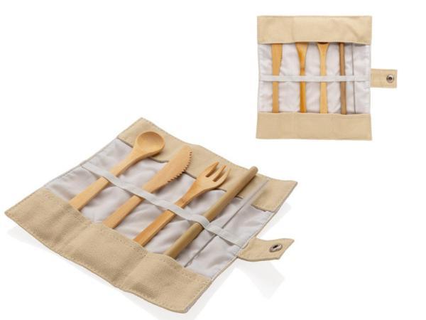 Set de Couverts en Bambou dans une Pochette en Toile