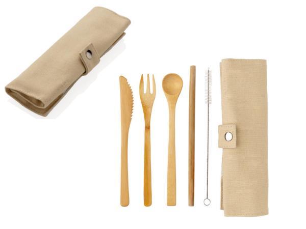Set de Couverts en Bambou dans une Pochette en Toile - visuel 2