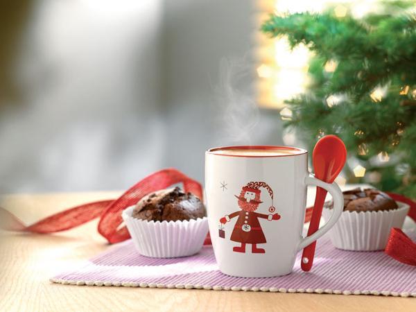 Mug en Céramique Père Noël et Cuillère Assortie
