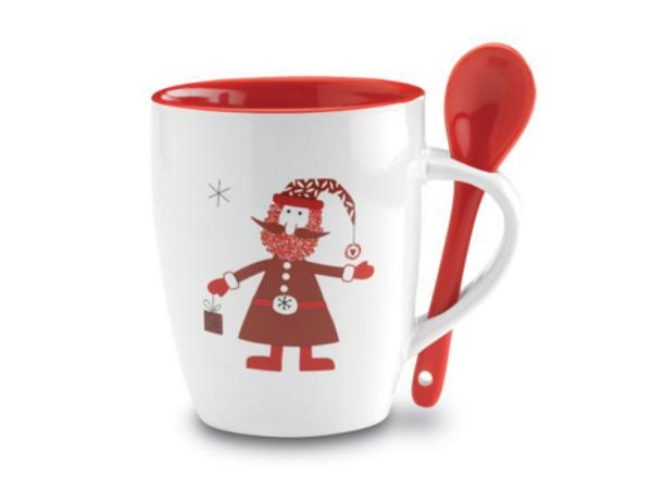Mug en Céramique Père Noël et Cuillère Assortie - visuel 2