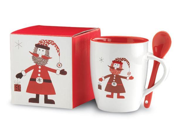 Mug en Céramique Père Noël et Cuillère Assortie - visuel 3