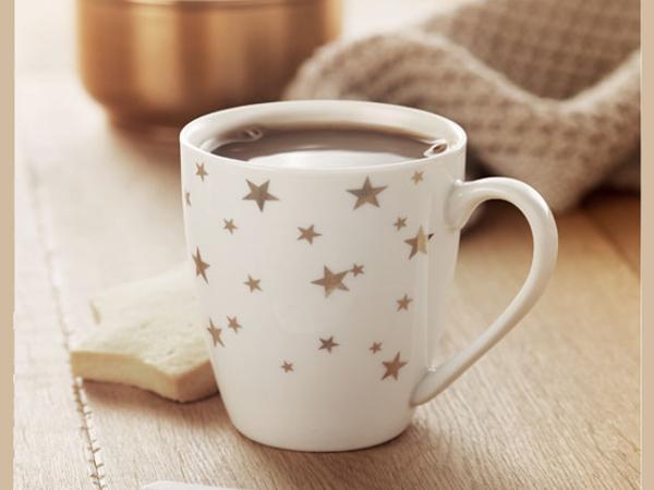 Mug en Céramique avec Etoile Dorées de 200 ml