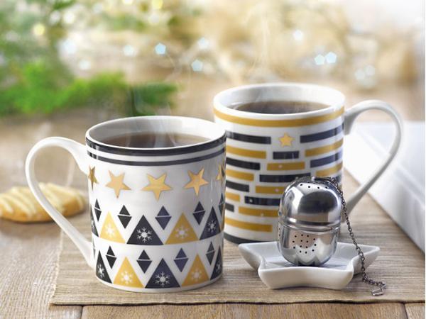 Ensemble à Thé : Mug en Céramique, Filtre à Thé et Soucoupe