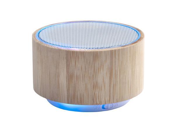 Enceinte Sans Fil Lumineuse de 3 W en Bambou - visuel 2