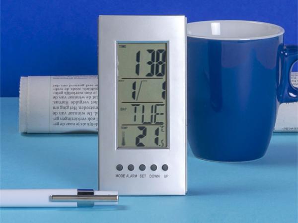 Pendulette de Bureau Thermomètre, Calendrier, Alarme - visuel 1