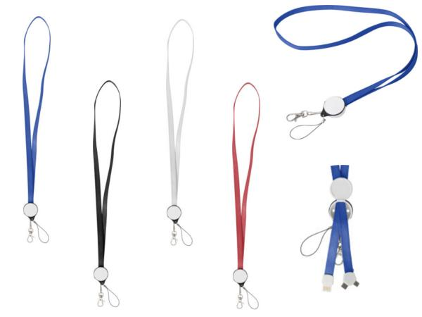 Lanyard 2 en 1 USB , micro USB, Mousqueton et Attache