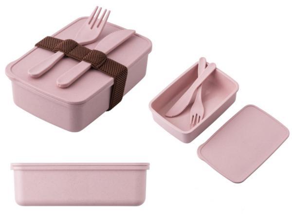 Lunchbox en PP et Paille de Blé avec Fourchette et Couteau