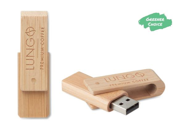 Clé USB Rotative en Bambou