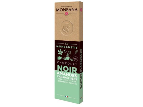 Barre Chocolat Noir Amandes Caramélisées MONBANA 40 g