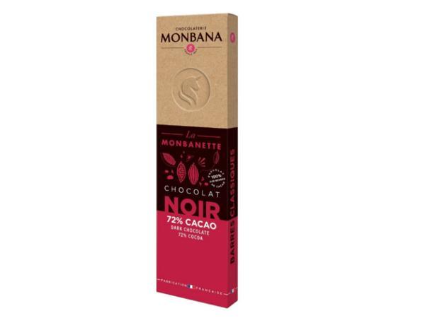 Barre Chocolat Noir 72 % Cacao  MONBANA 40 g